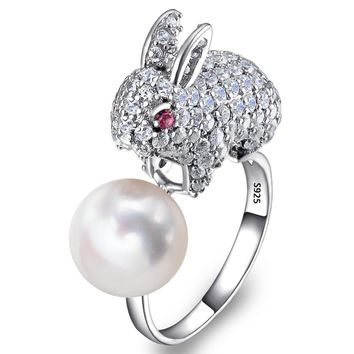 BELLA Fashion 925 Sterling Silver Cute Rabbit Ring Cubic Zircon 10MM Ivory Freshwater Cultured Pearl Animal Party Ring Size 6/7
