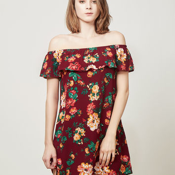 LE3NO Womens Flowy Floral Print Ruffle Off Shoulder Dress