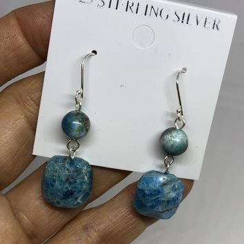 Turquoise charm gemstone Sterling Silver dangle earrings