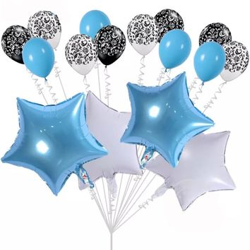 BLUE STAR PARTY Balloons- Baby Blue Birthday Balloons | Blue Baby Shower Balloons |Star Foil Balloons | Gender Reveal Balloons | Boys Baby