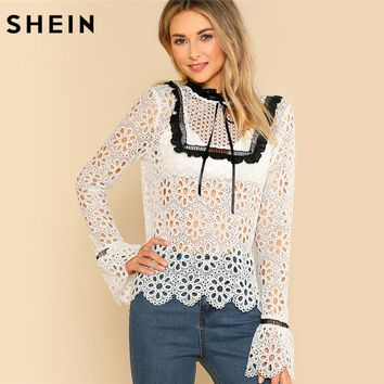 SHEIN Sexy Contrast Frill Detail Eyelet Lace Flounce Sleeve Blouse