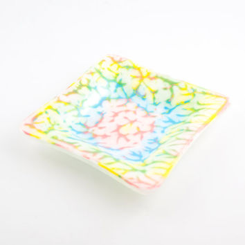 Fused Glass Candy Dish, Hand Painted, Decorative Bowl, Bedroom Accessories, Dresser Tray, Catch All, Pastel Decor, Unique Gifts for Women