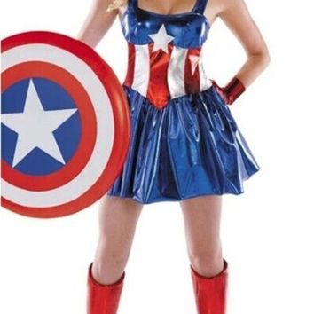 ONETOW female superman's uniform Halloween superman costume party dress (includ headwear+gloves+stocking) = 1946667204