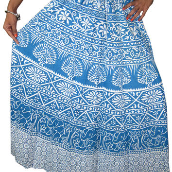 Mogul Indian Blue Skirts- Women's Boho Gypsy Long / Full Length / Cotton Maxi Skirt