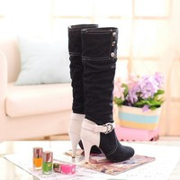 Denim Stiletto Heel Patchwork Round Toe Knee-length Boots