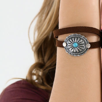 Walking With Nature Brown & Turquoise Suede Bracelet