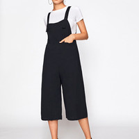 Wide Leg Crop Pinafore JumpsuitFor Women-romwe