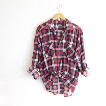 Vintage Plaid Flannel / Pink & Purple Grunge Shirt / washed out button up shirt