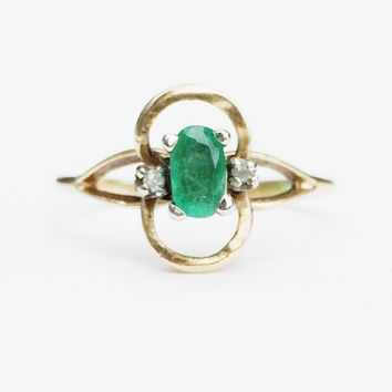 Pennycress - Emerald - Vintage - Size 6 - 10k Yellow Gold
