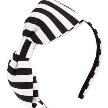 girls' large striped bow headband, black/cram - kate spade new york