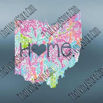 Ohio Heart Home Decal | I Love Ohio Decal | Homestate Decals | Love Sticker | Preppy State Sticker | Preppy State | 075
