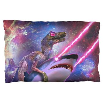 Velociraptor Laser Shark in Space Pillow Case