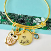 Owl Bracelet, Owl Jewelry, Personalized Bracelet, Little Girls Bracelet, Gold Bracelet, Owl Name Bracelet