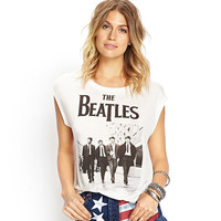 White The Beatles Classic Photo Graphic Tee