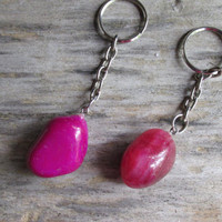 1 Tumbled Pink Agate KeyChain, Agate Key Ring, Dyed Pink Color Agate, Bright Pink Agate Key Chain, Stone,  Metaphysical, Creativity