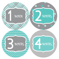 Baby Boy Monthly Milestone Stickers Style #132