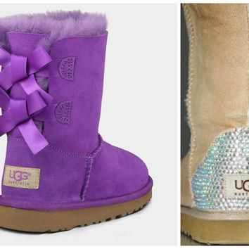 Toddler, Little Kid, and Youth UGG Bailey Bow Sheepskin Boots with Swarovski Crystal E