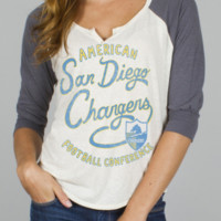 NFL San Diego Chargers Rookie Raglan - Women's Collections - NFL - San Diego Chargers - Junk Food Clothing