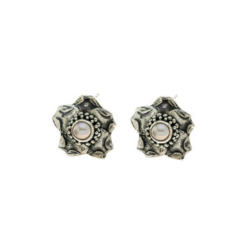 Grasset Rose Sterling Silver Mother Of Pearl Stud Earring