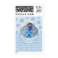 Americus Mermaid Shell It's a Girl Postage