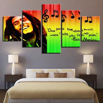 HD Prints Pictures Home Decor Modular Canvas Wall Art 5 Pieces Bob Marley Painting For Living Room Music Poster Framework PENGDA