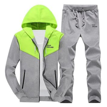 Tracksuit Mens Hoody Clothing Fleece Sportswear Letter Patchwork Sweat Homme Casual Men Tracksuits Sweatshirt 2 PCS Jacket+Pants