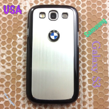 BMW Samsung Galaxy S3 Case BMW 3D Metal Car Logo with Aluminum Cover for S3 / i9300 - F1 Silver
