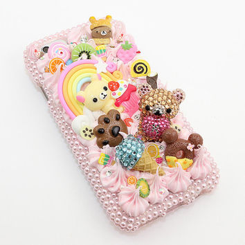 iphone 6 plus 5 5s 5c 4/4s -Samsung s3 s4 s5 note2 3 4 handcrafted case 3D cover faceplate Luxury bling crystal cute bear paradise style_786