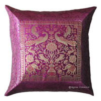 "16"" Pink Indian Elephant Animal Silk Brocade Throw Pillow Case"