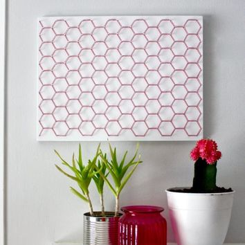 Hexagon wall art, geometric wall art, modern wall art, colorful wall art, living room wall art, bedroom wall art, home decor, wall decor