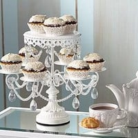 Elegant cake stand multi tiered cupcakes faux crystals truffles wedding cake display tray craft show Boutique bakery server kitchen decor