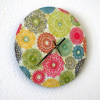 Retro Wall Clock, Home Decor, Decor and Housewares, Home and Living, Eco Friendly Living, Boho Wall Clock, Unique Gift