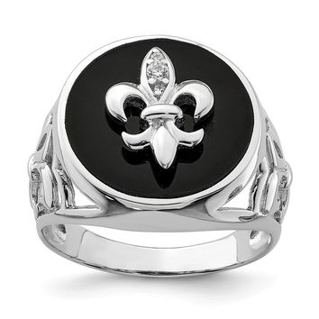 925 Sterling Silver Rhodium Plated Cubic Zirconia Black Onyx Ring