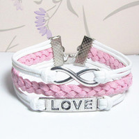 Bracelet,Love Symbol Bracelet,Infinity Bracelet.White Wax Cords and Light Pink bracelet.