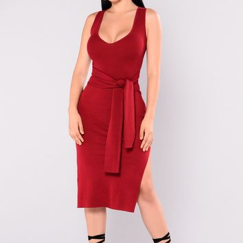 He Loves My Style Dress - Burgundy