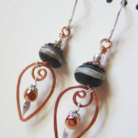 Contrast - Mixed Copper and Silver Earrings with Lampwork Glass