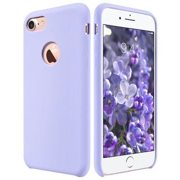 DCCKRQ5 iPhone 7 Case, ULAK Silicone Slim Purple - Flexible Shock Absorbing Liquid Silicone Gel Rubber Shockproof Case Cover with Soft Microfiber Cloth Lining Cushion for Apple iPhone 7 2016 Release