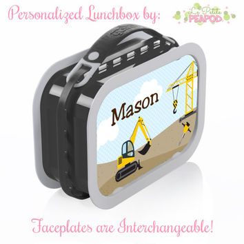 Construction Lunchbox - Personalized Lunchbox with Interchangeable Faceplates - Double-Sided Construction Vehicles Lunchbox