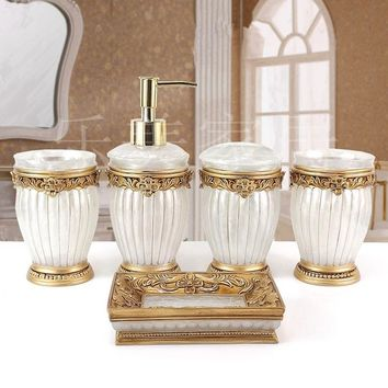 SIBAOLU Fashion quality resin bathroom five pieces set sanitary ware kit bathroom wash set bathroom set Soap dish  beautiful