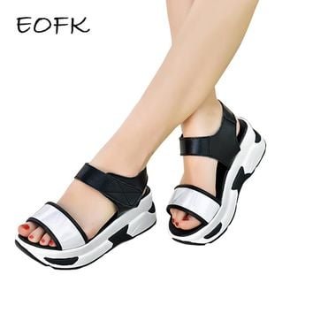 EOFK Summer Women Platform Sandals Patent leather Women flat Sandals Fashion Hook Loop Casual Wedge Shoes Woman