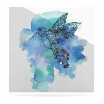 "Sonal Nathwani ""Hummingbird"" Blue Watercolor Luxe Square Panel"