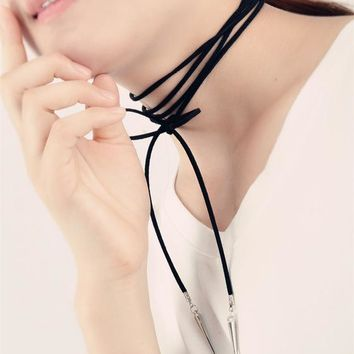 N2025 Black Suede Leather Cord Necklace Punk Rivet Fashion Long Bow Choker Statement Necklaces for Women Collier Bijoux Collares