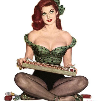 Pin Up Art Redhead Cigarette Girl Poster