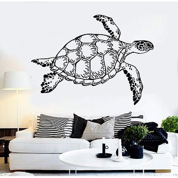 Vinyl Wall Decal Sea Turtle Animal Ocean Marine Style Zoo Stickers Unique Gift (1267ig)