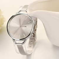 Silver  Quartz Stainless Steel Wrist Watch Hot Style