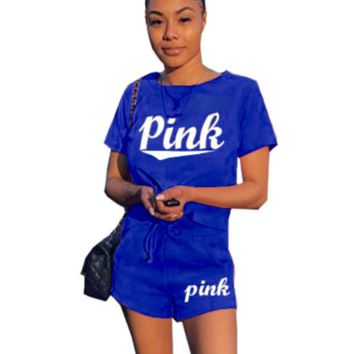Victoria Pink Fashion New Letter Print Short Sleeve Top And Shorts Sports Leisure Two Piece Suit Blue