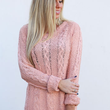 Cable Knit Spring Lightweight Knit {Peach}