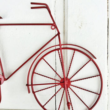 Bicycle Wall Hanging, Bike Art, Bicycle Art, Wall decor, Red Bike,  Three Hooks, Paris Apartment, Bicycle Wall Hook, Home and Living