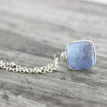 Periwinkle Blue Necklace, Druzy Quartz Necklace, Sterling Silver Necklace, Wire Wrap Necklace, Light Blue Necklace, Slate Blue Necklace