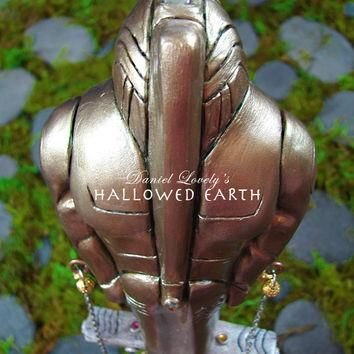 Ooak Quartz Wand - SUPREME BEING AKASHA - Golden Fifth Element Figure - Tribal Pagan A